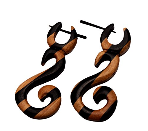 [A Pair of Brown Black Strap Coco Wood Wooden Boho Hippie Earrings Sew_1172] (Fancy Dress Krishna Costume)