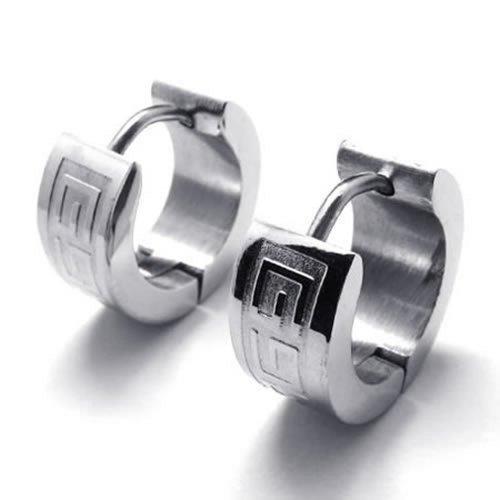 KONOV Stainless Steel Mens Huggie Hinged Hoop Stud Earrings Set, 2pcs, Color Silver