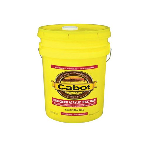 - Cabot Solid Color Acrylic Decking Stain Acrylic Exterior Neutral Base Opaque 5 Gl