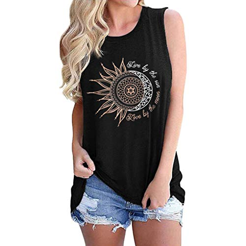 Women Sunflower Tank Tops Live by The Sun Love by The Moon Graphic Casual Vest Tee Shirts (Black, L, l)