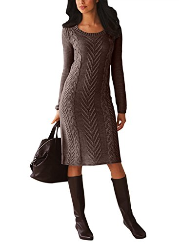 Chase Secret Womens Long Sleeve Cable Knitted Crewneck Slim Sweater Dress Large Brown (Sweater Scoop Dress Neck Knit)
