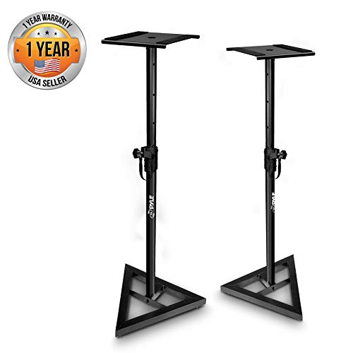 Pyle Sonos Speaker Stand Pair of Sound Play 1 and 3 Holder - Telescoping Height Adjustable from 26