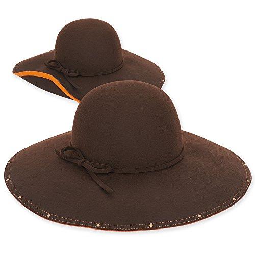 adora-womens-wool-felt-floppy-fedora-hat-with-studded-contrasting-under-brim-accent-b-brown-orange