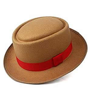 2019 Mens Womens Hats Men Women Unisex Flat Top Hat Fedora Hat for Gentleman Pork Pie Hat with Red Ribbon Pop Jazz Hat Wool Flat Fedora Hat Soft Casual Wild Hat (Color : Khaki, Size : 58)