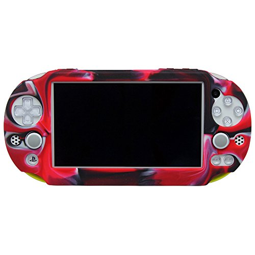 Pandaren Silicone Full cover Skin for PS Vita Slim PSV2000(Camouflage Red)