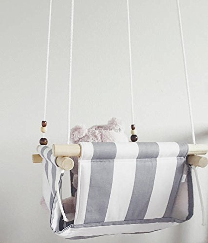 Grey and White Striped Fabric baby Swing by Sweet Swinging