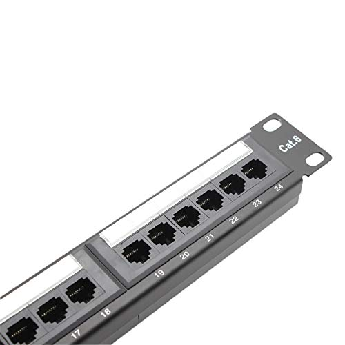 - Rackmount or Wallmount 24 Port Cat6 Patch Panel (Cat 6 RJ45 Patch Panel) 568A/B Compatible,Dual IDC Block for 110 or Krone Termination