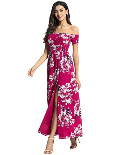 1a5df53979 Azalosie Women Off Shoulder Maxi Dress Maternity Floral Short Sleeve Empire  Waist Slit Dress Summer Party
