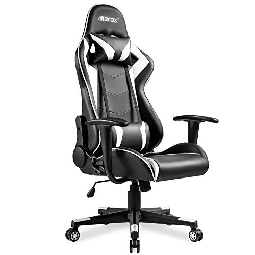 Merax High Back Gaming Chair with Lumbar Support and Headrest Racing Game Chair Home Office Computer Chair (White)