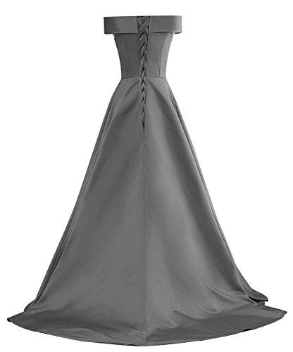 Femmes Changuan De Large De La Robe De Demoiselle D'épaule Une Robe De Soirée Bal Longue Ligne Bustier Gris