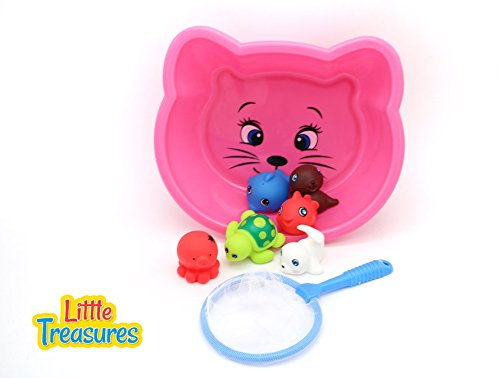 Happy Bath Animal Play Set from Little Treasures Makes Bath Time Fun with a Catching Net So Babies Can Track Down the Loose (Net Track)