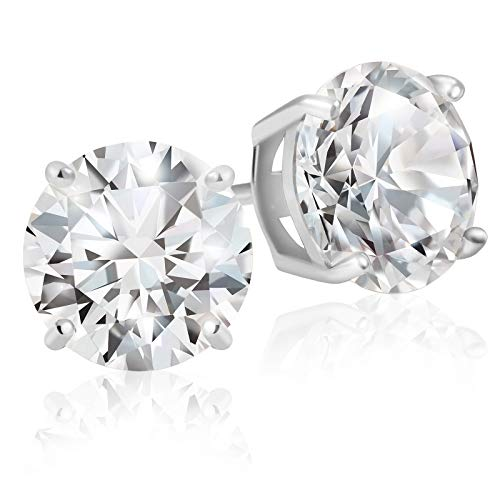 - Lusoro Sterling Silver Round Cut AAA Cubic Zirconia Stud Earrings - 3 Carat Total Weight CZ