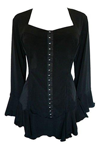 Victorian Witch (Dare To Wear Victorian Gothic Boho Women's Plus Size Corsetta Corset Top Black 2x)