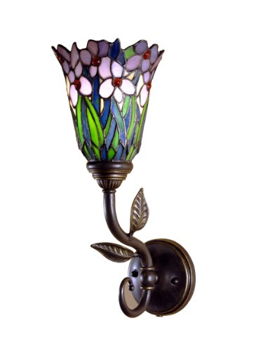 Dale Tiffany TW101056 Meadowbrook Wall Sconce Light, Verona Bronze and Art Glass Shade