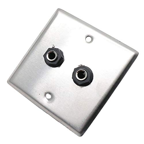 - Yootop Double 6.35mm Socket Panel Stereo Audio Jack Wall Plate Connector Mono and TRS