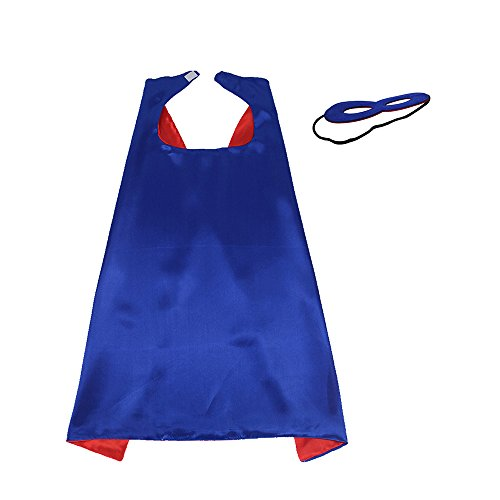iROLEWIN Superhero Boys - Girls Cape with Mask 2 Colors Double-Sided, Blue-Red -