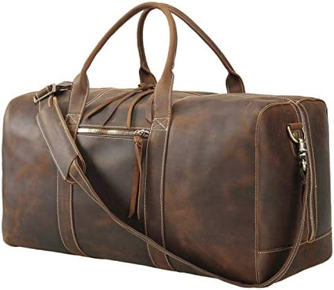 Texbo Men s Handmade Full Grain Leather Travel Duffle Bag Weekender Overnight Luggage Bag Carry on Hand Bag 24 with YKK Zippers