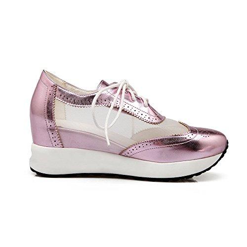 AllhqFashion Damen Rund Zehe Schnüren Blend-Materialien Rein Hoher Absatz Pumps Schuhe Pink