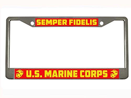 Semper Fidelis US Marine Corps Steel License Plate Frame Tag Holder
