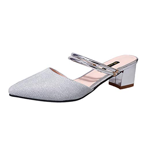 (Summer Sandals for Women, ❤️ FAPIZI Pointed Toe Slingback Shoes Low Heels Casual Ankle Strap Strappy Party Sandals Silver)