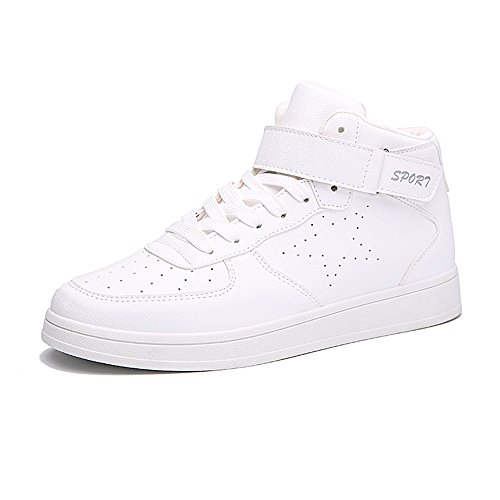 YAN XU Mens Hight Top Increased Height Hidden Heel Sneakers Platform Sports Shoes(White,Size 10)