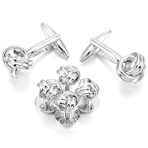 MOWOM Silver Tone Rhodium Plated Cufflinks Love Knot Stud Set (Knot Tuxedo)