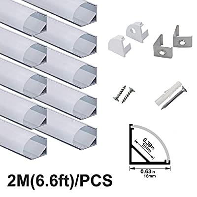 hunhun 10-Pack 6.6ft/ 2Meter V Shape LED Aluminum Channel System With milky Cover, End Caps and Mounting Clips, Aluminum Profile for LED Strip Light Installations, Very Easy Installation