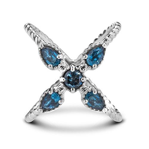 Carolyn Pollack Sterling Silver London Blue Topaz X Ring