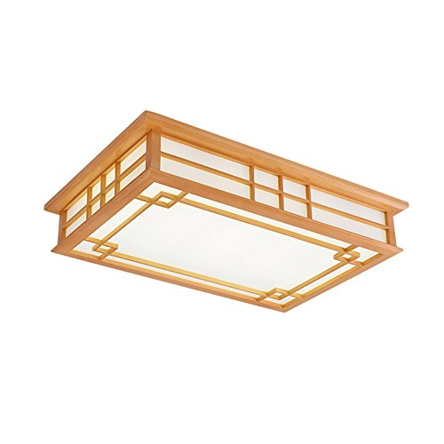 Chambers Ceiling Fixture - Modern LED Pendant Flush Mount Ceiling Fixtures Light Wood Japanese ceiling tattoo lamp rectangular and chamber wood Chinese solid wood light three color, 650 450mm