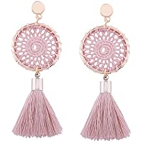 Lavany Womens Earrings Bohemian Vintage Long Tassel Fringe Boho Dangle Earring Jewelry (Pink)