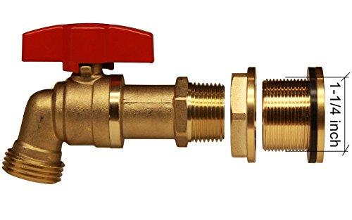 Rainpal brass rain barrel spigot with bulkhead fitting