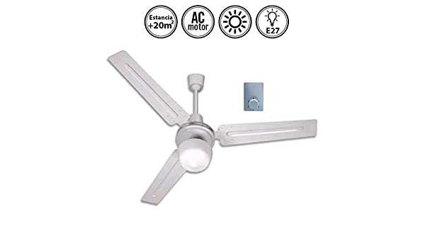 MUNDOFAN Ventilador de Techo Blanco con luz 120d: Amazon.es: Hogar