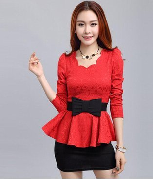 2ba2486574111c Buy Imported   new Women Casual Tunic Shirt Ladies Elegant Peplum Top (Red)  Online at Low Prices in India - Amazon.in