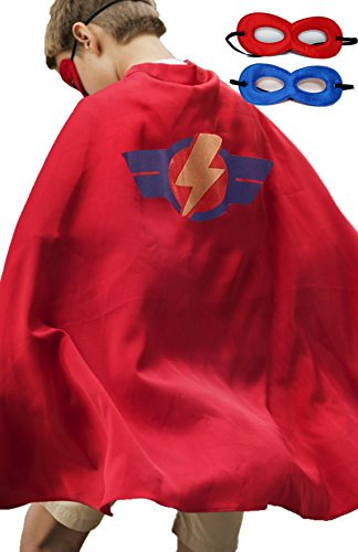 Super Hero Cape & Mask/Accessory Set for Boys or Girls - One-Size (3-8 Yrs) (Red)