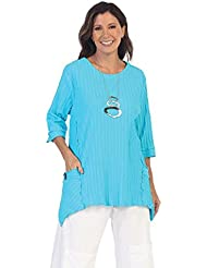 Focus Fashion Womens Pocket Front 100% Cotton Tunic In Turquoise - CS-330