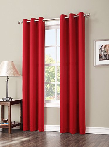 Gorgeous Home Linen *Various of Colors & Sizes* 1 PC #92 , Solid Insulated Foam Backing Lined Blackout Hotel Quality Grommet Top, Soft Smooth Touch, Window Curtain Panel (63″ Length, Bright Red)
