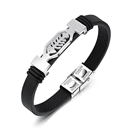 Men's Genuine Leather Bracelet with Titanium Fish Bone Pattern and Buckle of Silver-plate 7.87