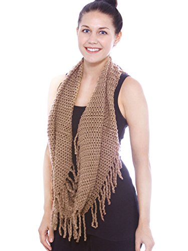 Women Winter Infinity Scarf Thick Circle Loop Tassel Scarves Khaki