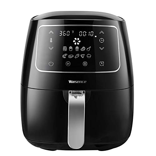 Air Fryer XL, Willsence Air Fryers 3.7-Quart Electric Oilless Hot Air-Fryer, Cooker with Cookbook and 50 Online Recipes, Touch Screen Control, Dishwasher Safe, Metal Inner Housing (Black-A)