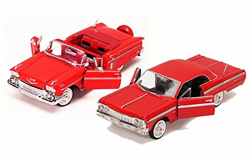Motor Max 1958-1964 Chevy Impala Bundle, Set of Two 1/24 Scale Diecast Model Cars