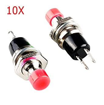 Frentaly 10 pcs Red 2 Pin SPST Off-(On) N/O Round Momentary Push Botton Switch 1A 250V AC