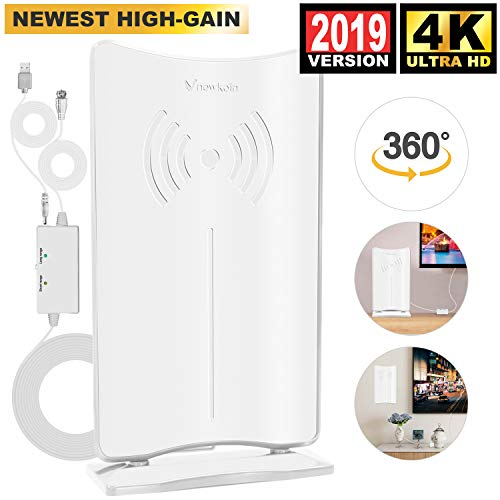 [2019 Latest HIGH GAIN] Amplified HD Digital TV Antenna - Long 80 Miles Range HDTV Antenna Indoor Amplifier Signal Booster, Support 4K 1080P & All Older TV's Free Channels w/Low Error Rate -White