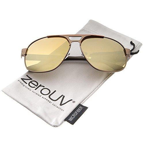 zeroUV - Modern Flat Top Crossbar Mirror Lens Metal Square Aviator Sunglasses 59mm