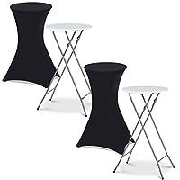 IDMarket - Lot de 2 Tables Hautes Pliantes + 2 Housses Noires