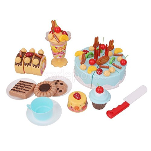 DIY 75pc Birthday Cream Fruit Cake Kids Children Pretend Play Party Cake Set by uptogethertek