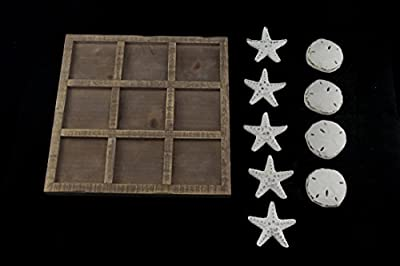 Zeckos Wood Wooden Games Starfish and Seashells 9 Inch Tic Tac Toe Game Board 9 X 0.68 X 9 Inches White