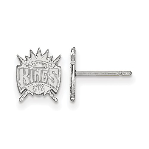 NBA Sacramento Kings X-Small Post Earrings in 14K White Gold by LogoArt