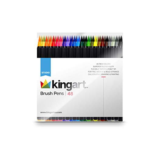 KINGART 444-48 Markers Real Brush Pens, Set of 48 Unique Colors, 48 Piece