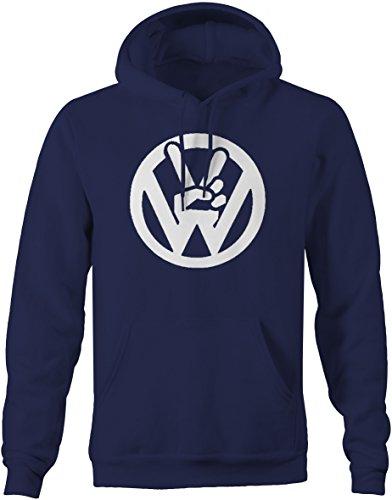 VW Volkswagen Circle Logo Peace Sign Fingers Sweatshirt - Large Finger Sweatshirt