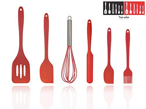 6PCS Heat-Resistant Silicone Spatulas Set, Silicone Cooking Utensils, Silicone Spatulas, Spatula Baking Scraper, SiliconeWhisk, Silicone Turner Spatula, (red)